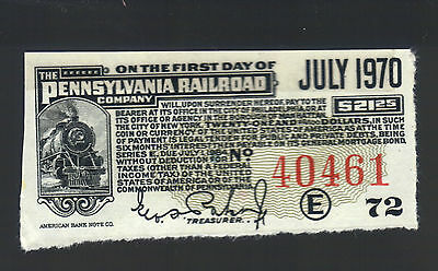 $21 Note from $1000 Pennsylvania Railroad Bond Baker PA Monopoly RR Coupon Bill
