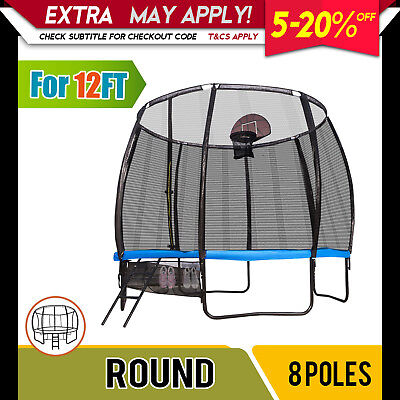 Replacement Trampoline Safety 8-Pole Enclosure Net Round Spare Part 12FT