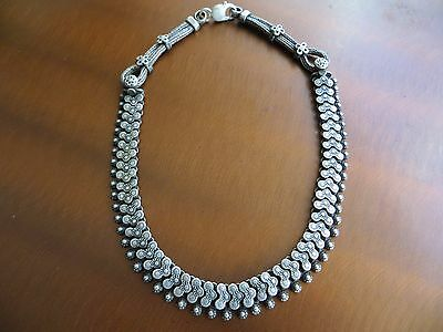 "Old Tribal Rajasthan Indian Sterling Choker Necklace 16"" 68 gr."