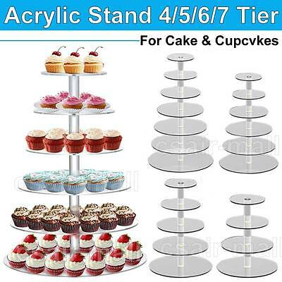 Acrylic Round Clear Cake Stand Cupcake Wedding Birthday Party 4/5/6/7 Tier
