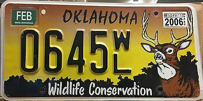 2006 Oklahoma 'Wildlife Conservation' Specialty License Plate (0645WL)