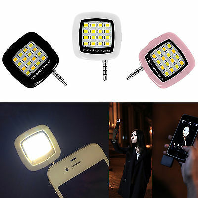 3.5mm Jack Smart Selfie 16 LED Camera Flash Light For IOS Android Phone