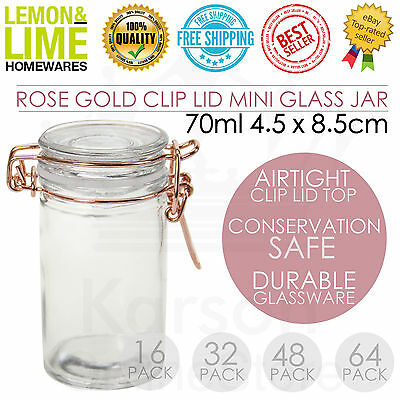 Glass Jars 70ml Rose Gold Clip Rubber Seal Canisters Wedding Favours Conserve