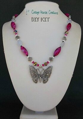 Fluttering Butterfly Pendant Jewelry Making Bead Supply Kit with Instructions
