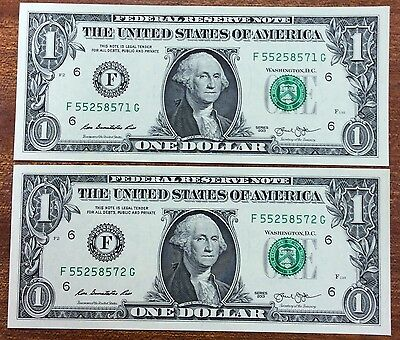 2013  $1 United States Banknote - UNC, F 5525871-2G pair