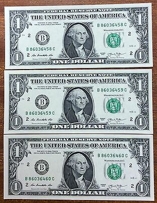 2013  $1 United States Banknote - UNC, B 86036458-60 run of 3