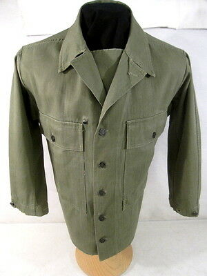 WWII US Army OD7 HBT Herring Bone Twill 2nd Pattern Combat Jacket Shirt 38R Xlnt