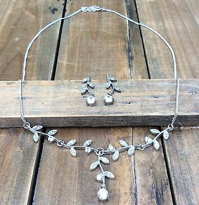 Vintage Sterling Silver Rhinestone Necklace Earrings Set Branch Leaves Blossoms