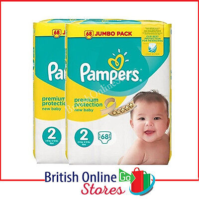 Pampers Size 2 Nappies Baby Premium Protection Monthly Saving Pack 136 Nappies