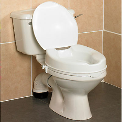 Savanah 4 inch  Raised Toilet Seat with Lid. Elevated Toileting Aid.