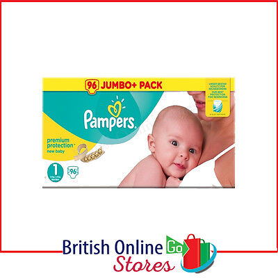 Pampers New Baby Size 1 Nappies Jumbo Pack 2 X 72(144) Nappies Newborn