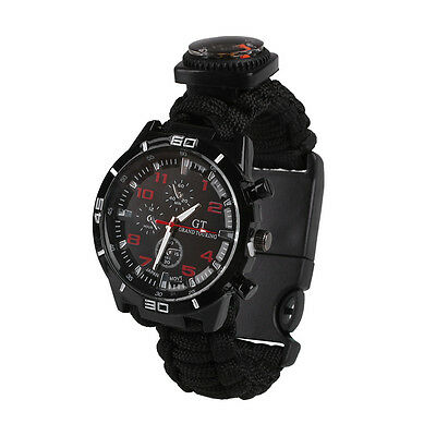 6 in 1 Survival Paracords Watch Bracelet With Flint Whistle For Hiking