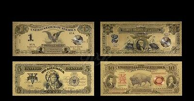 1899  And 1901 Dollar Banknotes With 24K Gold Leaf Set Of 4