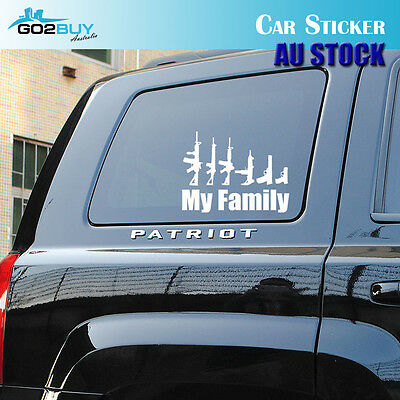 MY FAMILY PISTOL GUNS White Reflective Car Truck Window Sticker Decal Decoration
