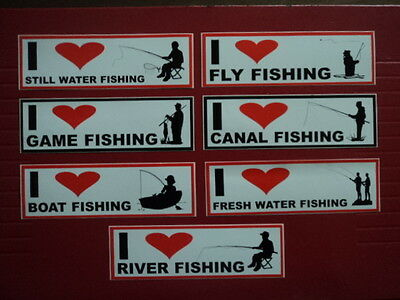 I Love Fly River Boat Game Canal Fishing Tackle Box Car Bumper Decal Stickers.