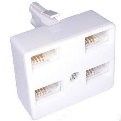 BT Virgin Telephone Phone Fax Socket Triple Four 4 Way Adapter Cable Splitter