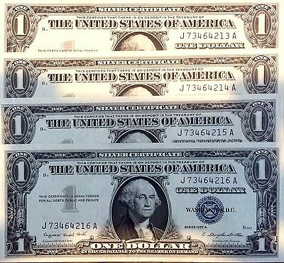 Collection Of 4 - 1957 Silver Dollar Uncirculated And Consecutive Serial Numbers