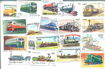 Trains-Railways collection 500 all different postage stamps(some Trams)Worldwide