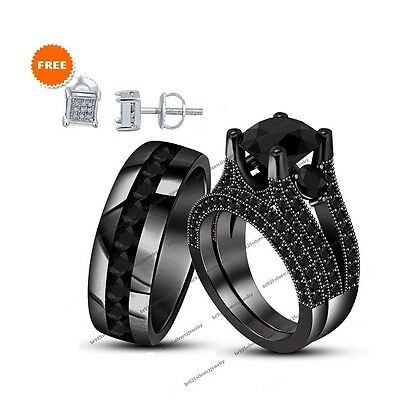 His & Her Black Real Diamond Rhodium Over Engagement 3ps Trio Ring Set 4-1/2CT