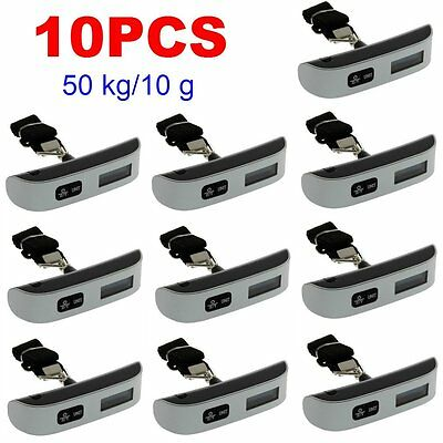 10PCS Portable 50kg/10g Digital LCD Electronic Luggage Hanging Weight Scale Lot