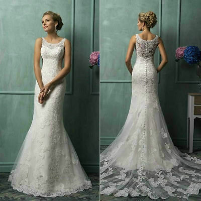 New  lace White/Ivory Wedding Dress Bridal Gown custom size 6 8 10 12 14 16 18++