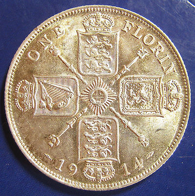 1914 2/- George V silver Florin in an exceptional grade