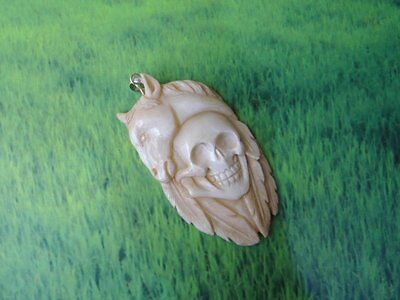 Pendant Necklace Skull Head & Horse From Buffalo Bone Carved w/ Silver 925_x153