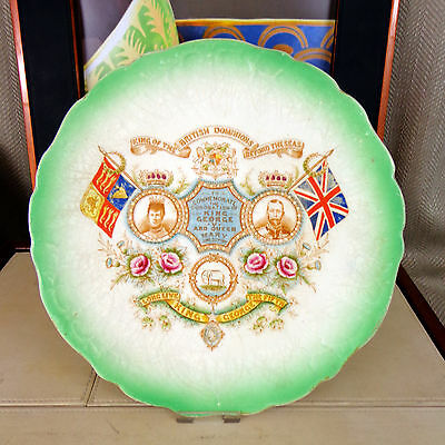 Antique Commemorative Plate Queen Mary King George 1911 British Royalty Vintage