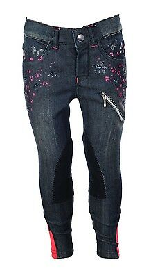 HKM Little Sister Champ Childrens Denim Flower Horse Riding Breeches Kids