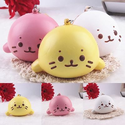 8cm Expression Cat Ball Squishy Soft Bread Cell phone Straps Bun Key Chains New