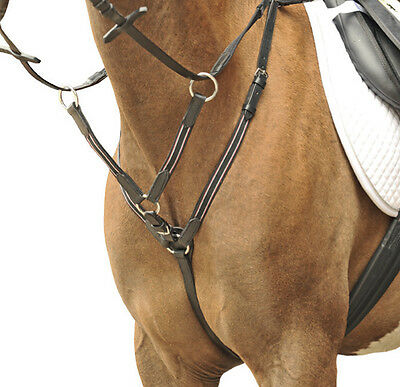 HKM Martingale Breastplate With Silver Fittings Black Or Brown Pony Cob Full