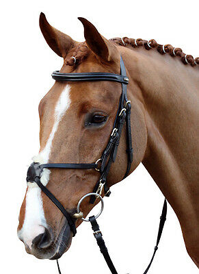 HKM Mexican Leather Grackle Bridle With Reins Black Or Brown Pony Cob Full