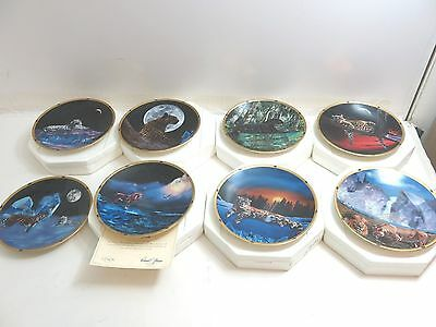 Set Of 8 Lenox Crystal Hunter Plate Collection / All Cats