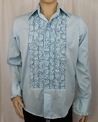 Vintage Lion of Troy Men's Blue Ruffle with Black Accent Shirt 15 1/2 X 33