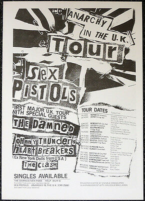 Sex Pistols 1976 Anarchy Tour Poster Page . The Clash Damned Johnny Thunders Q12
