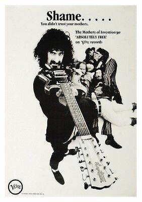 Frank Zappa POSTER Hagstrom Guitar **LARGE** Promo Ad Mothers of Invention