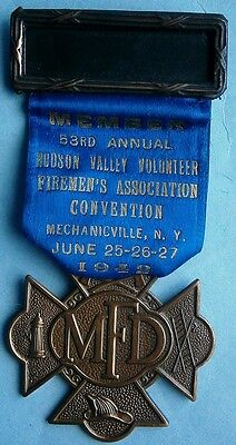 1942 Mechanicville, NY Hudson Valley Vol. Firemen's Assn. Medal for Past Pres.