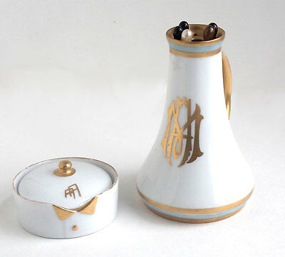 Rare 1920s Rosenthale Collar Stay Dish with Lid, and Porcelain Hatpin Holder