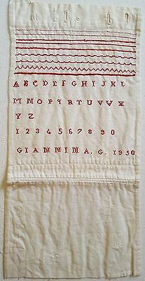 Vintage Alphabet Sampler, Dated : 1950, Made By Miss : Giannina. G . . .