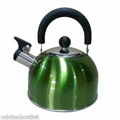 Milicamp Metallic Green Stainless Steel Whistling Kettle - 2L