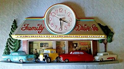 Vintage 1950's Style COCA COLA FAMILY DRIVE-IN QUARTZ WALL CLOCK with 3-D Cars