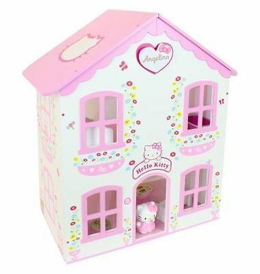 Hello Kitty Wood 15x16x10 DollHouse 14 Pieces of Furniture & Accessories Sanrio