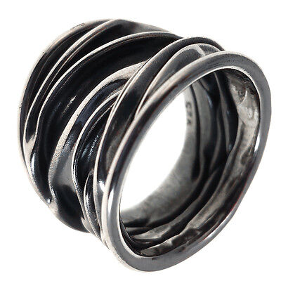 TAXCO VINTAGE STYLE 925 OXIDIZED CRINKLED RING | Mexico Sterling Silver