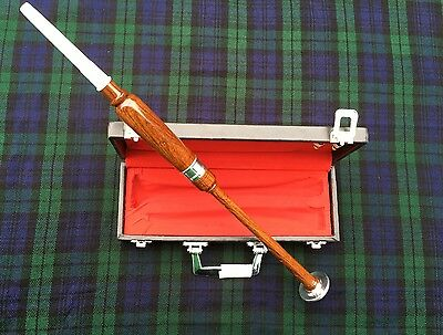 Scottish Practice Chanter Rosewood Silver Mounts with carrying Box + 2 reeds