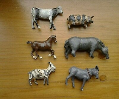 6 vintage farm animals.