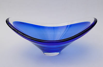 MAGNOR Glass NORWAY - Mid Century Modern Design - Blue Bowl SIGNED