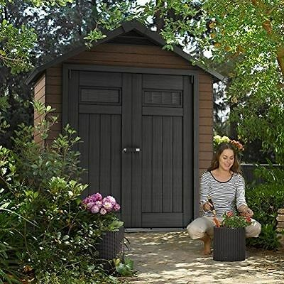 Keter Fusion Large 7.5 X 4 Ft Wood Plastic Composite Outdoor Garden Storage