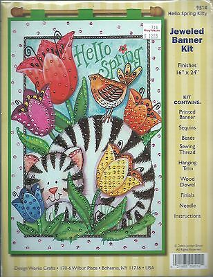 """""""HELLO SPRING"""" A Cat Hiding In The Flowers & Bird - Jeweled Felt Banner Kit"""