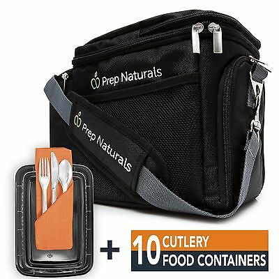 [Premium] Meal Prep Bag + Travel Bag with 10 Bonus Food Containers (28oz) and...