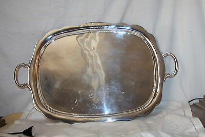 Sterling Silver Tea Platter 45 Troy Oz Mexico Taxco Signed MV conjoined Eagle 1